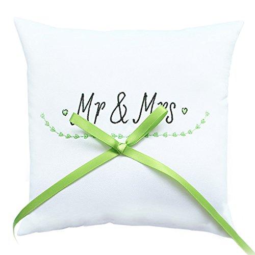 Ringkissen Mr and Mrs für die Hochzeit, Kissen für Trauringe, mit Herzen und Schleife in Grün, quadratisch, 19,5 x 19,5 cm