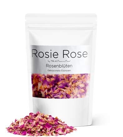 Rosie Rose - Getrocknete Rosenblütenblätter aus natürlichem Anbau - Essblüten - Teeblüten -Rosenblütentee - Damaszener Rosen 30g