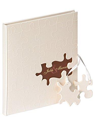 Walther GB-173 Gästebuch 'Puzzle', Format 23 x 25 cm, 144 weiße Seiten, mit Ausschnitt für persönlichen Namen