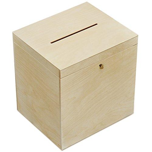 Creative Deco Holzkiste mit Deckel Geldgeschenke Hochzeit Holzbox   29 x 25 x 30 cm   mit Schloss und Schlüssel Geschenkkarten Box Geldbox Briefbox   Unlackiert Kasten   Ideal für Lagerung