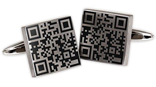 International Connection Lasergravur Manschettenknöpfe mit Ihrem persönlichen QR Code Manschettenknopf Hochzeit Cuff link Button