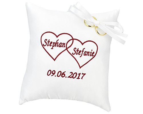 WeddingMania Ringkissen Herz in Herz – Bestickt mit Namen und Datum - Farbe wählbar