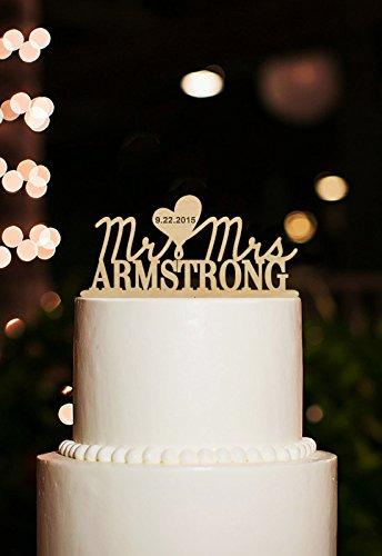Mr et Mrs pour gâteau de mariage Motif gâteau de mariage personnalisées Date Cake Toppers décorations d'anniversaire