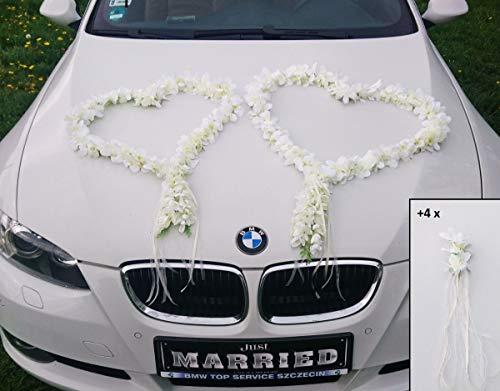 ORCHIDEEN Herzen Braut Paar Rose Deko Dekoration Hochzeit Car Auto Wedding ®Auto-schmuck Deko Girlande PKW (Ecru)