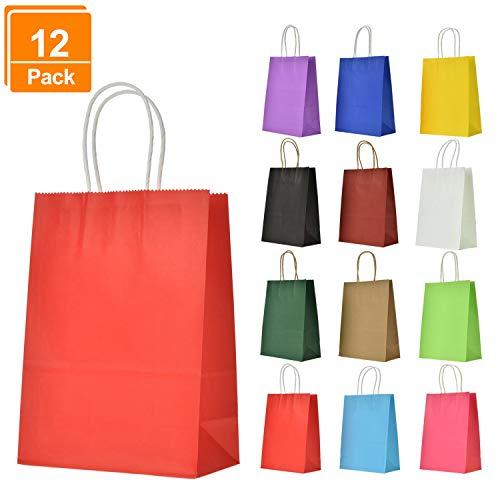 Lynlon Papiertüten Kraftpapier [12 Stück] |papiertüten mit henkel| |Kraft Tüten| |Mitgebsel Tüten| |Geschenktüte| für Partys, Hochzeiten, feiern, Geschenktüten und Süßigkeiten