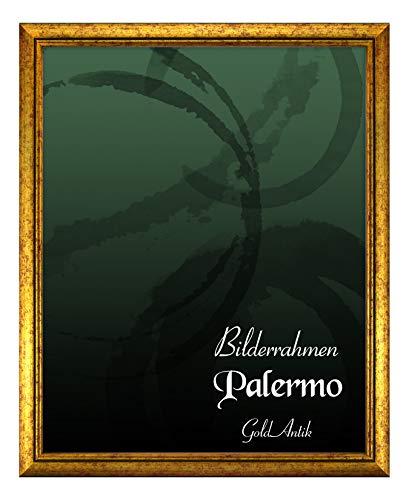 BIRAPA Bilderrahmen Palermo 50x70 cm in Gold aus Massivholz mit Antireflex-Kunstglas