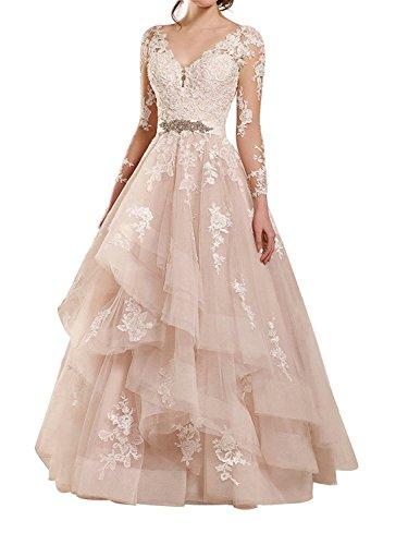JAEDEN Lange Hochzeitskleider Brautkleid Prinzessin Ballkleider Tüll Spitze Abendkleider V-Ausschnitt Langarm Champagner EUR36