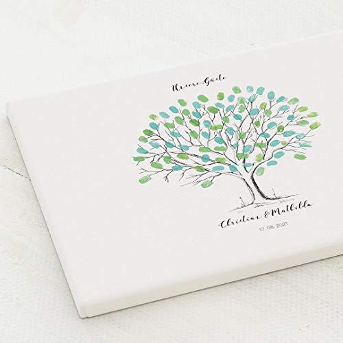 sendmoments Leinwand Fingerabdruck, Hochzeitsbaum, Querformat 40x30 cm, personalisiert mit Text, kreative Verewigung der Hochzeitsgäste, originelles Gästebuch, optional mit Stempelkissen