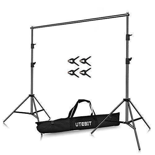 UTEBIT 5x7ft Hintergrund Höhenverstellbar 1.5x2m Background Stand Faltbare Lagerung hintergrundsystem mit Transporttasche und Leimzwingen 4Stück für Fotostudio, Porträt und Videoaufnahmen