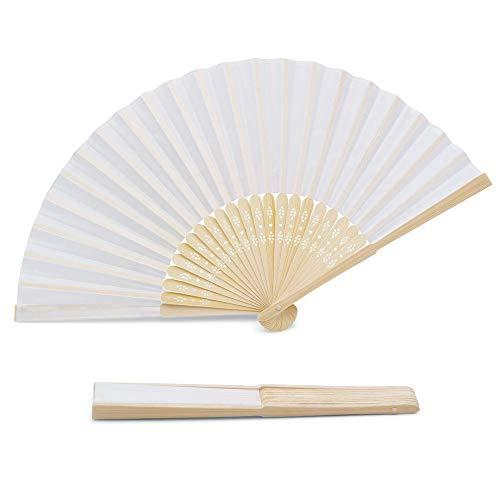 OLILLY 100 x Weiße Qualitätsfächer aus Stoff und Bambus – Für Hochzeit, Taufe, Feier oder Veranstaltung im Freien (weiß, 100 Fächer)