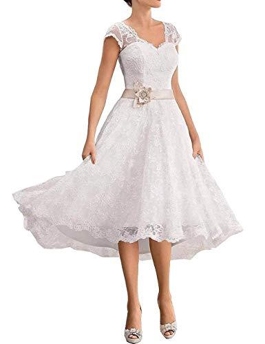A-Linie V-Ausschnitt Spitzen Brautkleider Kurz Elegante Hochzeitskleider Standesamt Abendkleider Knielang Große Größen Ivory EUR 48