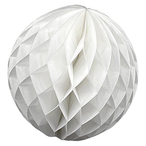 Simplydeko Wabenball | Deko Honeycomb Papierkugel aus Seidenpapier | Papierlampion | Papierball | Lampion aus Wabenpapier | Weiß | 10 cm