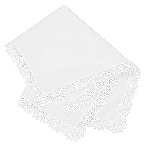 Milesky Damen Taschentuch mit Häkelspitze Weiß 100% Baumwolle Größe 30x30cm (CH01)