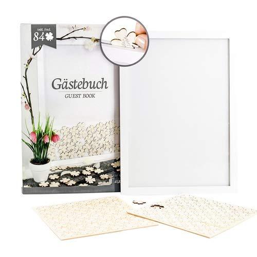Gästebuch mit Kleeblatt, Bilderrahmen inklusive 84 Holzkleeblättern, Hochzeit, Geburtstag
