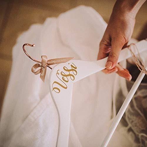 Kupfer & Weiß Brautkleid Kleiderbügel mit Gold personalisierten Namen für Braut, Bräutigam, Brautjungfer, Trauzeugin, Mutter der Braut oder Bräutigam