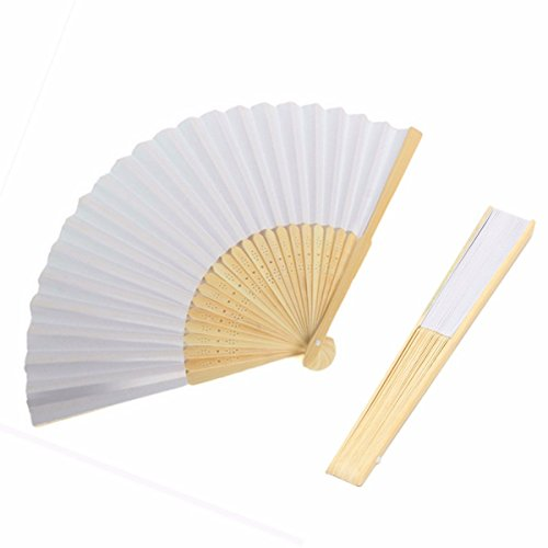 king do way Faecher Handfaecher Weisse chinesische leeres Papier Fans darauf kann DIY malen Hochzeitsfeier gefallen Bambus Fan Kinder Faltbar faecher (20 Stueck)
