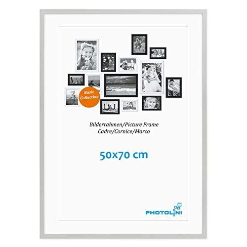 PHOTOLINI Poster-Bilderrahmen 50x70 cm Modern Silber aus MDF mit Acrylglas/Posterrahmen/Wechselrahmen