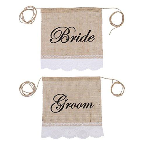 UEETEK 2pcs rustikale hessischen Stuhl Banner mit Braut Bräutigam Zeichen für Hochzeit Party Dekoration