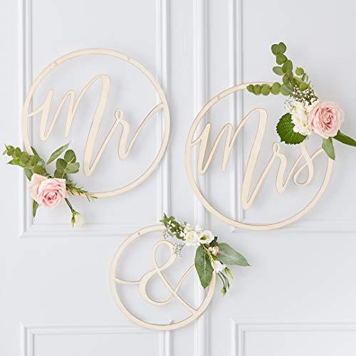 Ginger Ray Holzrahmen Mr & Mrs zum Aufhängen, Hochzeitsdekoration, 3 Stück, goldfarben