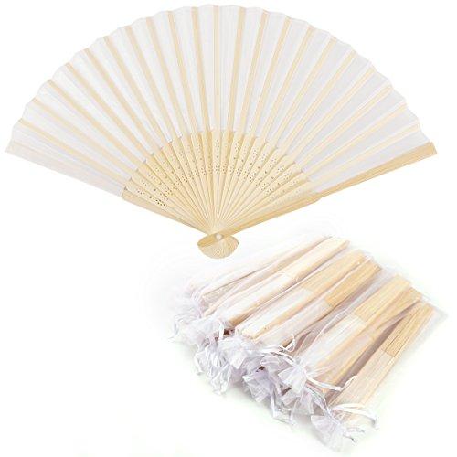 Surepromise 20er Handfächer Taschenfächer Klappfächer Stofffächer Holz Weiß mit 20 Organzabeutel für Hochzeit Party Gastgeschenk