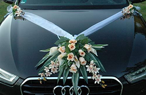 Autoschmuck Spitze STRAUß Auto Schmuck Braut Paar Rose Deko Dekoration Hochzeit Car Auto Wedding Deko PKW (Ecru 5)