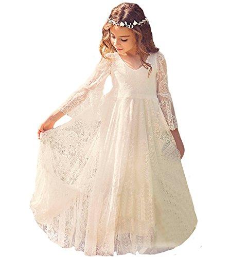 Babyonline Blumenmädchen Kleider Mädchen Kleider Festlich Brautjungfern Party Kleider Hochzeit, Elfenbein, Gr. 130 (8-9 Jahr)