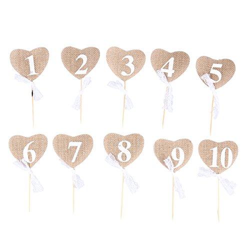 ULTNICE Tischnummern Hochzeit Vintage,Hochzeit Tischnummern 1-10 Herz Form Banner Dekor mit Stick