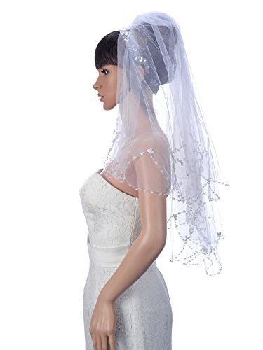 Remedios 2 Schicht Voile wulstige und Pailletten Rand-Hochzeits Brautschleier mit Kamm, Weiß