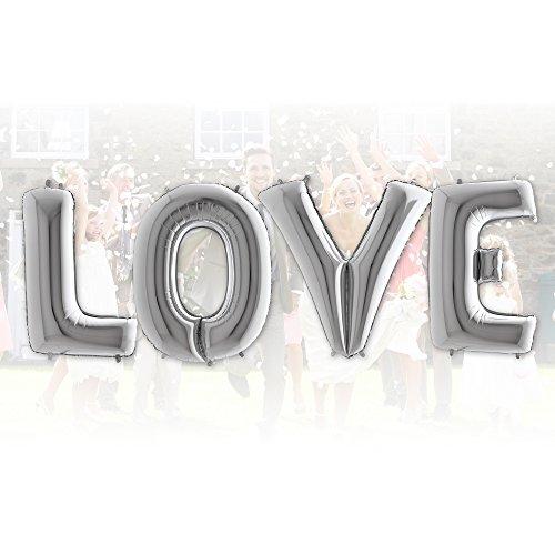 XXL Ballon Buchstaben Love in ROT 100cm - Hochzeit, Liebe & Romantik - Party Geschenk Dekoration Folienballon Luftballon Rot ist die Liebe