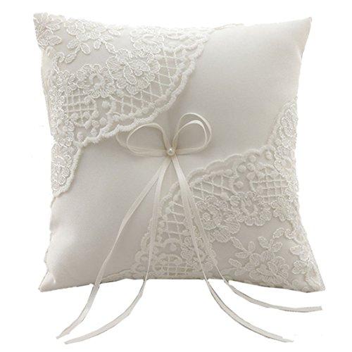 Hochzeit Ringkissen Kissen gestickte Blumen mit Schleife 21cm * 21cm - Ivory