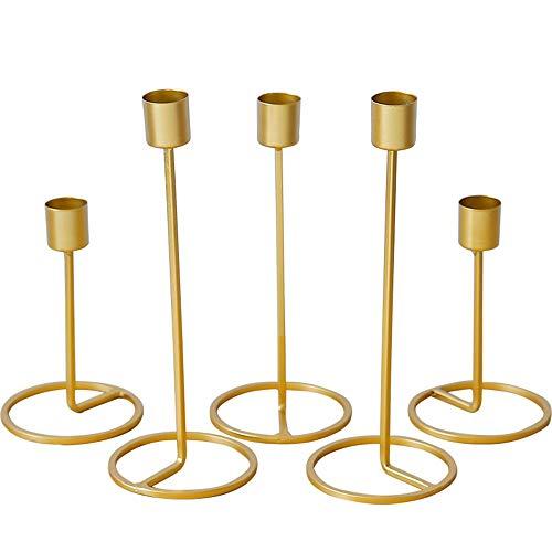 Baffect Saison Kerzenhalter Set 5, Eisen Kerzenlicht Halter Hochzeit Weihnachten Tischdekoration Gold Kerzenhalter für Hochzeit Dinner Feast Decor (5 Stück)