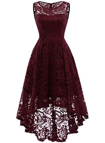 MuaDress 6006 Elegante Abendkleider Cocktailkleider Damenkleider Brautjungfernkleider aus Spitzen Knielange Rockabilly Ballkleid Rund Ausschnitt Burgundy XL