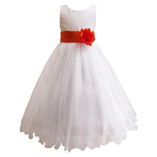 Katara - 1690-34 Festliches Kinder BlumenmŠdchen Kleid fŸr Hochzeit, Kirche, Feiern mit Blume, Schleife und viel TŸll - Beste QualitŠt Dieser Preisklasse, 122 (6-7 Jahre), rot