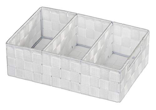 WENKO Organizer Adria Weiß 3 Fächer - Aufbewahrungsbox, 3 Fächer mit Griff, Polypropylen, 32 x 10 x 21 cm, Weiß