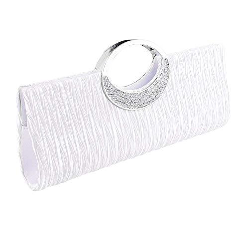 Clorislove Elegante Damentasche Clutch Abendtasche Handtasche Hochzeit Party Tasche (Silber)