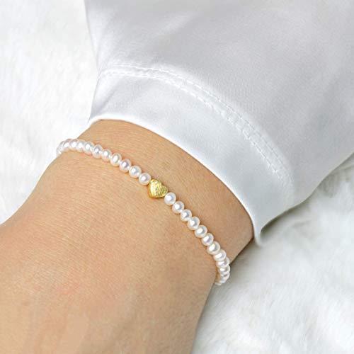 Armband Trauzeugin oder Braut aus echten Zuchtperlen Qualität AAA mit Herz, 925er Silber und vergoldet
