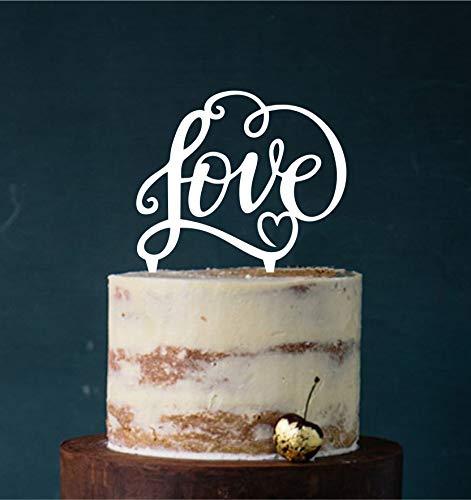 Manschin-Laserdesign Cake Topper, Tortenstecker, Tortefigur Acryl, Tortenständer - Farbwahl - Etagere Hochzeit Hochzeitstorte Love (Weiß) Art.Nr. 5250
