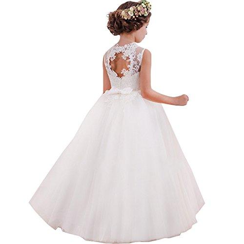 LZH Mädchen Kleider Kleid Tüll Spitze Hochzeit Prinzessin Party Kleider, Weiß, 9-10 Jahre (Herstellergröße: 140)
