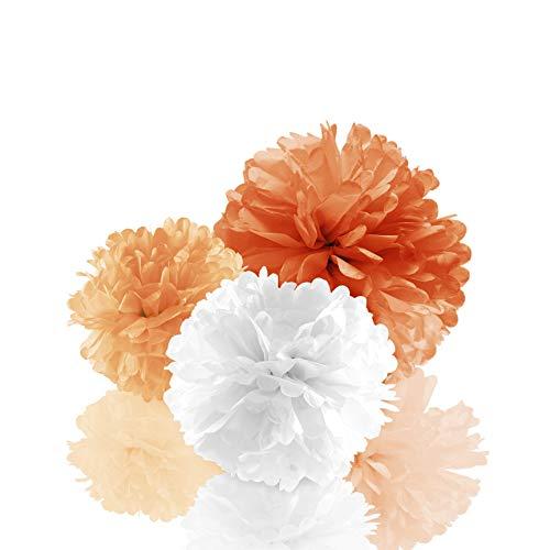 Amazy Seidenpapier Pom Poms (12er Set) mit Schlaufen zum Aufhängen – Wunderschöne Seiden Deko-Kugeln für Festliche Anlässe (Rosa)