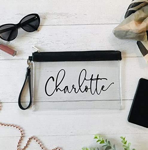Kosmetikbeutel transparent personalisiert mit Namen Geschenk Flitterwochen Team Braut Lieblingsmensch