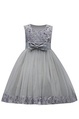 YMING Mädchen Sommer Kleid Festlich 3D Blumen Schleife Festzug Party Kleid,Grau,2-3 Jahre Alt
