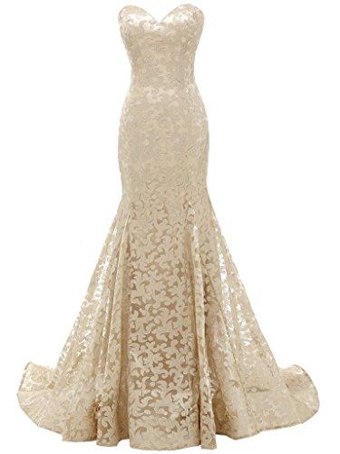 Solovedress Frauen Meerjungfrau Hochzeitskleider Schatz Spitze Abendkleid Brautjungfernkleid(Eur 52,Champagner)