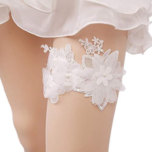 Kuingbhn Brautstrumpfband Spitzen Strumpfband - Braut Hochzeit Strumpfband - Brautkleider Zubehör - Hochzeitsgeschenke für die Braut - One Size (Color : White, Size : Free Size)