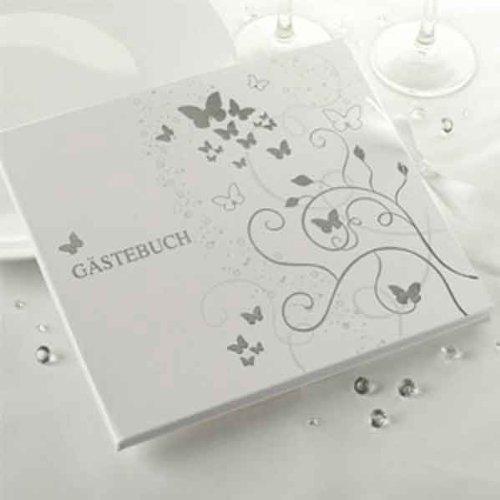 Silber Schmetterlings-Hochzeits-Gästebuch