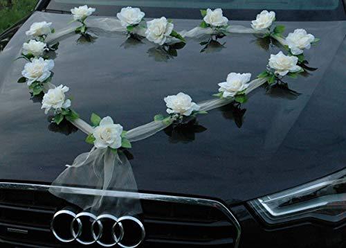Organza Herz Auto Schmuck Braut Paar Rose Deko Dekoration Autoschmuck Hochzeit Car Auto Wedding Deko Girlande PKW (Ecru/Ecru)