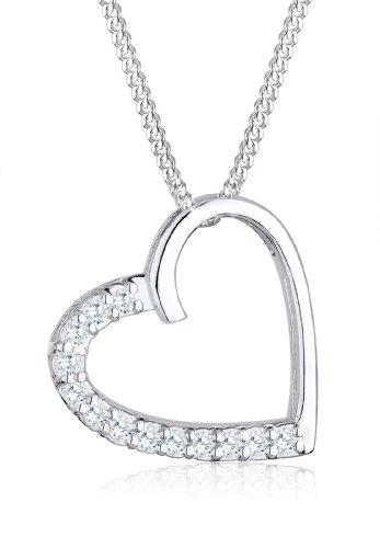 Elli Damen Kette mit Anhänger Herz 925 Sterling Silber Zirkonia weiß Brillantschliff 0101460814_45