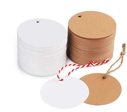 200stk. Kraftpapier Rund Anhänger Etiketten Stern Geschenkanhänger und Jute Schnur 20M für Hochzeit Geschenke zum Basteln (Rund Kraftpapier Anhänger)