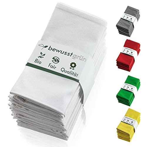 BewusstGrün I 12 Faire & Nachhaltige Stoffservietten + Faltanleitungen I 100% Bio-Baumwolle I 45x45 cm Weiß
