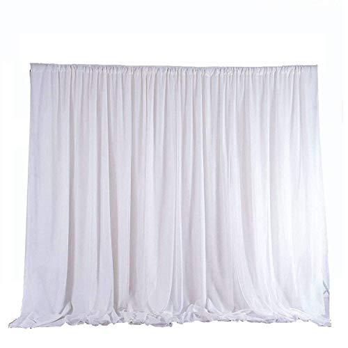 Trimming Shop Shop weißes EIS Seide Hintergrund Vorhänge ohne Beute für Hochzeit, Party, Event, Geburtstag, Weihnachten, Foto-Studio, Festival, Fensterdekoration, 3 metre x 3 metre