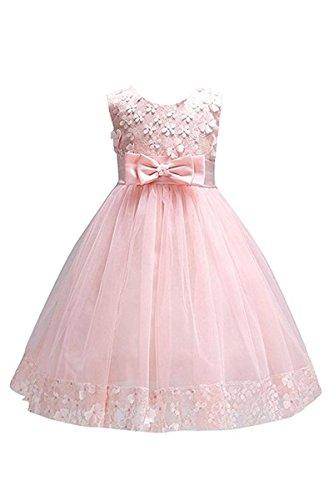 YMING Mädchen Kleider Blumenspitzen Schleife Blumen Kleid Hochzeit Party Festliches Kleid,Rosa,9-10 Jahre Alt